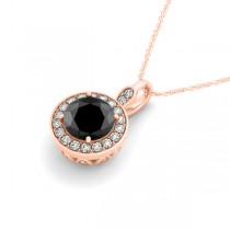 Round Black Diamond & Diamond Halo Pendant Necklace 14k Rose Gold (1.80ct)