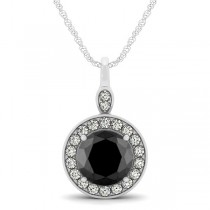 Round Black Diamond & Diamond Halo Pendant Necklace 14k White Gold (1.80ct)