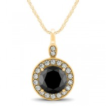 Round Black Diamond & Diamond Halo Pendant Necklace 14k Yellow Gold (1.80ct)