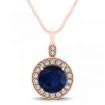 Round Blue Sapphire & Diamond Halo Pendant Necklace 14k Rose Gold (2.30ct)