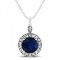 Round Blue Sapphire & Diamond Halo Pendant Necklace 14k White Gold (2.30ct)