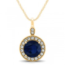 Round Blue Sapphire & Diamond Halo Pendant Necklace 14k Yellow Gold (2.30ct)