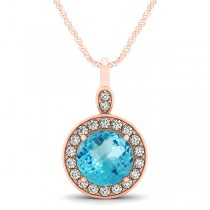 Round Blue Topaz & Diamond Halo Pendant Necklace 14k Rose Gold (2.22ct)