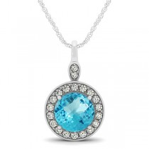 Round Blue Topaz & Diamond Halo Pendant Necklace 14k White Gold (2.22ct)