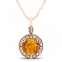 Round Citrine & Diamond Halo Pendant Necklace 14k Rose Gold (1.80ct)
