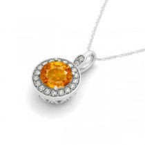 Round Citrine & Diamond Halo Pendant Necklace 14k White Gold (1.80ct)