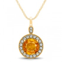 Round Citrine & Diamond Halo Pendant Necklace 14k Yellow Gold (1.80ct)