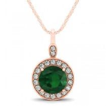 Round Emerald & Diamond Halo Pendant Necklace 14k Rose Gold (2.15ct)