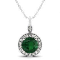 Round Emerald & Diamond Halo Pendant Necklace 14k White Gold (2.15ct)