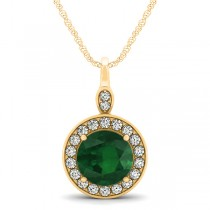 Round Emerald & Diamond Halo Pendant Necklace 14k Yellow Gold (2.15ct)