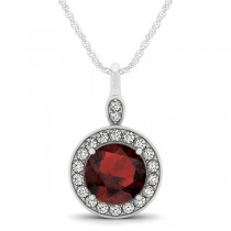 Round Garnet & Diamond Halo Pendant Necklace 14k White Gold (2.26ct)
