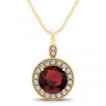 Round Garnet & Diamond Halo Pendant Necklace 14k Yellow Gold (2.26ct)
