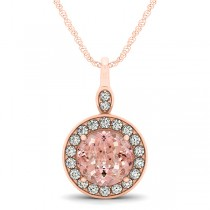 Round Pink Morganite & Diamond Halo Pendant Necklace 14k Rose Gold (1.85ct)