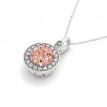 Round Pink Morganite & Diamond Halo Pendant Necklace 14k White Gold (1.85ct)