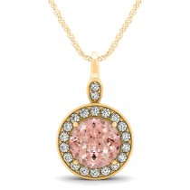Round Pink Morganite & Diamond Halo Pendant Necklace 14k Yellow Gold (1.85ct)
