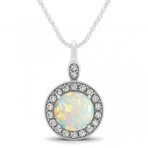 Round Opal & Diamond Halo Pendant Necklace 14k White Gold (1.32ct)