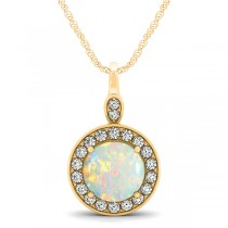 Round Opal & Diamond Halo Pendant Necklace 14k Yellow Gold (1.32ct)