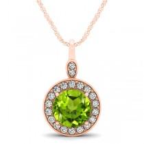 Round Peridot & Diamond Halo Pendant Necklace 14k Rose Gold (1.85ct)