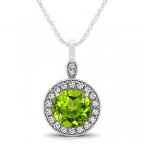 Round Peridot & Diamond Halo Pendant Necklace 14k White Gold (1.85ct)