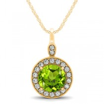 Round Peridot & Diamond Halo Pendant Necklace 14k Yellow Gold (1.85ct)