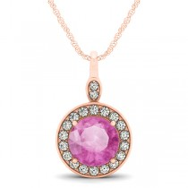 Round Pink Sapphire & Diamond Halo Pendant Necklace 14k Rose Gold (2.30ct)