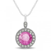 Round Pink Sapphire & Diamond Halo Pendant Necklace 14k White Gold (2.30ct)