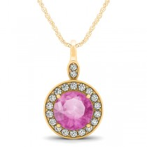 Round Pink Sapphire & Diamond Halo Pendant Necklace 14k Yellow Gold (2.30ct)