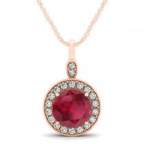 Round Ruby & Diamond Halo Pendant Necklace 14k Rose Gold (2.30ct)