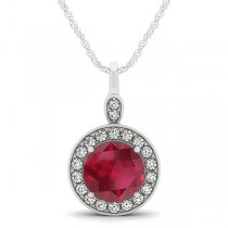 Round Ruby & Diamond Halo Pendant Necklace 14k White Gold (2.30ct)