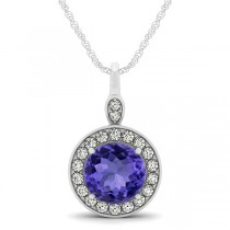 Round Tanzanite & Diamond Halo Pendant Necklace 14k White Gold (2.30ct)
