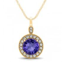 Round Tanzanite & Diamond Halo Pendant Necklace 14k Yellow Gold (2.30ct)