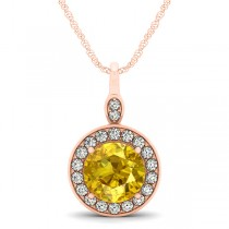 Round Yellow Sapphire & Diamond Halo Pendant Necklace 14k Rose Gold (2.30ct)