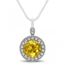 Round Yellow Sapphire & Diamond Halo Pendant Necklace 14k White Gold (2.30ct)