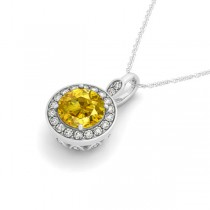 Round Yellow Sapphire & Diamond Halo Pendant Necklace 14k White Gold (2.30ct)|escape