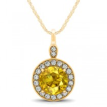 Round Yellow Sapphire & Diamond Halo Pendant Necklace 14k Round Yellow Gold (2.30ct)