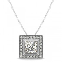Halo Princess Cut Diamond Pendant Necklace 14k White Gold (1.75ct)