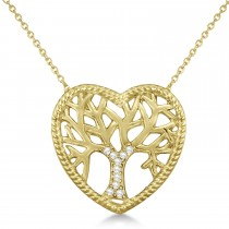 Diamond Heart Family Tree of Life Pendant Necklace 14k Yellow Gold (0.05ct)