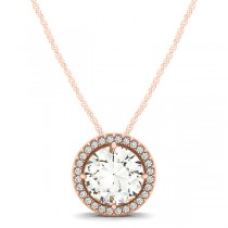Diamond Floating Solitaire Halo Pendant Necklace 14k Rose Gold (2.04ct)