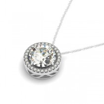 Diamond Floating Solitaire Halo Pendant Necklace 14k White Gold (2.04ct)