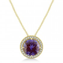 Lab Alexandrite Floating Solitaire Halo Pendant Necklace 14k Yellow Gold (2.04ct)