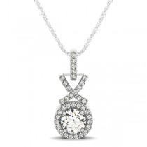 Round Diamond Halo XO Pendant Necklace 14k White Gold (0.70ct)