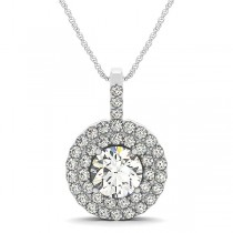 Diamond Drop Double Halo Pendant Necklace 14k White Gold (2.25ct)