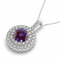 Alexandrite & Diamond Drop Double Halo Pendant 14k White Gold (2.61ct)