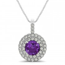 Amethyst & Diamond Drop Double Halo Pendant 14k White Gold (1.85ct)