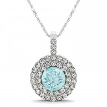 Aquamarine & Diamond Drop Double Halo Pendant 14k White Gold (2.06ct)