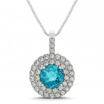 Blue Diamond & Diamond Drop Double Halo Pendant 14k White Gold (1.75ct)