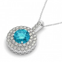 Blue Diamond & Diamond Drop Double Halo Pendant 14k White Gold (1.75ct)|escape