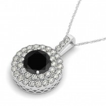 Black Diamond & Diamond Drop Double Halo Pendant 14k White Gold (1.75ct)|escape