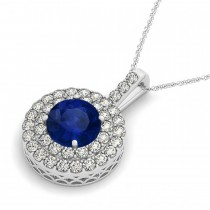 Blue Sapphire & Diamond Drop Double Halo Pendant  14k White Gold (2.16ct)