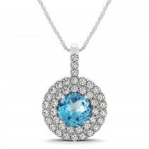 Blue Topaz & Diamond Drop Double Halo Pendant  14k White Gold (2.11ct)